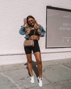 So happy to be back in that LA sunshine (outfit tagged) - OUTFITS ♡ - Biker Shorts Summer Shorts Outfits, Short Outfits, Spring Outfits, Trendy Outfits, Fashion Outfits, Casual Shorts Outfit, Modest Shorts, Jeans Fashion, Fashion Menswear