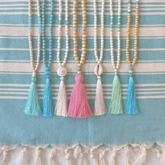 beachcomber etsy shop tassel necklaces mala yoga by the sea long beaded necklace