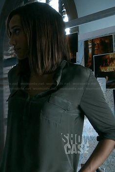 Tess's green roll-sleeve shirt on Beauty and the Beast. Outfit Details: http://wornontv.net/21463/ #BeautyandtheBeast