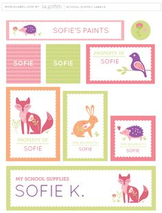 It is back-to-school time and what a perfect way to personalize all of your kid's school supplies with these Scandinavian style labels. The label designs from Lia Griffith fromliagriffith.com, feature a fox, bunny, hedgehog and little bird who are all ready and excited for the first day of school. Choose ...
