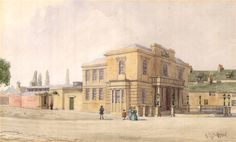 Photo:Town Hall and Prison, 1839 with the soon to be demolished Wass Lane to its right in the market place clearance that started 1823 and finished circa 1840 Town Hall, Prison, Street View, It Is Finished, Places, Painting, Painting Art, Paintings, Painted Canvas