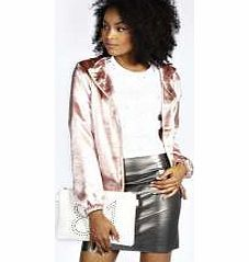 boohoo Harriet Hooded Satin Bomber Jacket - blush Look hot in hammered satin with this 90s-inspired bomber jacket . Layer it over a slogan tee with high waisted silk joggers and barely-there heeled sandals . http://www.comparestoreprices.co.uk/womens-clothes/boohoo-harriet-hooded-satin-bomber-jacket--blush.asp