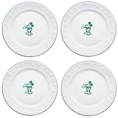 Gourmet Mickey Mouse Dinner Plate Set - White/Green