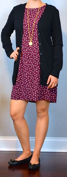 Burgundy printed shift dress, black boyfriend cardigan, black ballet flats