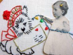 SCOTTIE INNAMORATO HOOP ART di LADIESSEDEL67 su DaWanda.com #hoop_art #vintage #embroidery #broderie #punto_erba #punto_pieno #50s #valentine