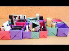 Organiza tu maquillaje con hojas de papel // BigCrafts - YouTube Diy Storage Boxes, Bedroom Organization Diy, Makeup Organization, Monster Mud, Diy Rack, Ideas Para Organizar, Dollar Store Hacks, Organize Your Life, Diy Paper