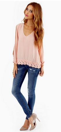 Click Pic for 35 Cute Spring Outfits - Trimmed Avenues Blouse - Spring Outfits for Teen Girls