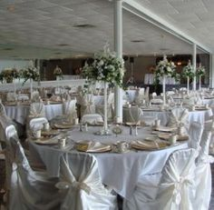 #anthonyslakeside #royalswanroom #wedding #white #chaircovers #reception