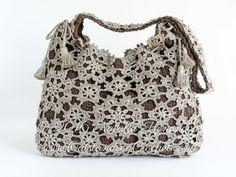 Crochet Shoulder Crossbody Drawstring Messenger Bag Pattern - Hippie Boho Chic Festival Style Purse - Motifs bag - Instant PDF download