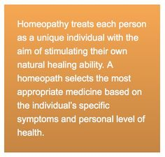 Homeopathy treats eah person as unique individual