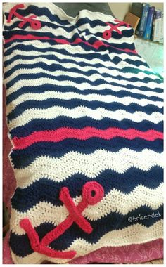Crochet chevron nautical blanket with anchors