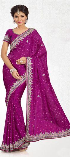155724, Bridal Wedding Sarees, Chiffon, Satin, Cut Dana, Moti, Stone, Patch, Border, Pink and Majenta Color Family