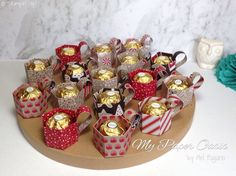 Candy Cane Lane Mini Cup Treat holders with video link tutorial by My Paper Oasis; stampin up; treat holder; mini mug; mini cup; paper cup; paper mug; ferrero rocher treat holder; gift ideas