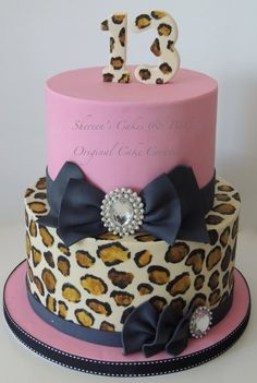 Pink and Leopard Print with Black Bows.