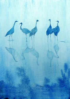Such a beautiful monochromatic watercolor of cranes. The simplicity really appeals to me. It was created by a French watercolorist - that's all I could find. Art And Illustration, Vogel Illustration, Illustrations, Watercolor Bird, Watercolor Paintings, Watercolours, Photo Bleu, Monochromatic Paintings, Bird Art