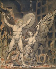 """William Blake: """"Satan, Sin, and Death: Satan Comes to the Gates of Hell"""" (1808). Illustration to Milton's """"Paradise Lost"""", object 2 (Butlin 536.2). Pen and water color. Museum of Fine Arts, Boston, USA"""