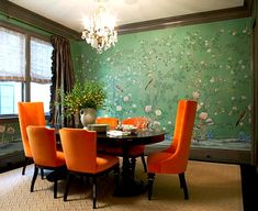 Dining Room, Orange Dining Room Chair With Dark Wood Table And Brown Carpet As Well As Green Wall Decoration Flower Pattern: Winning Dining Room Chairs Orange Dining Room, Orange Rooms, Green Rooms, Green Walls, Classic Wallpaper, Green Wallpaper, Silk Wallpaper, Painted Wallpaper, Room Wallpaper