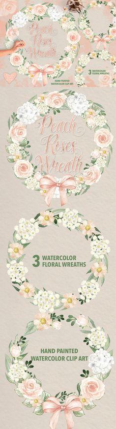 Watercolor peach roses wreaths. Watercolor Flowers. $6.00