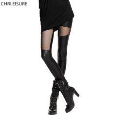 S-XL Sexy Frauen Ledernaht Leggings Mode Spitze Schwarz Leggings Für Frauen  Plus Größe Leder Legging Punk Gothic Rock 57361ff4bd