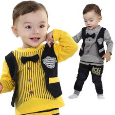 RETAIL Baby Suit Set Clothing Sets 100%Cotton Bow Stripe O-neck T shirt + Pants GRAY/YELLOW
