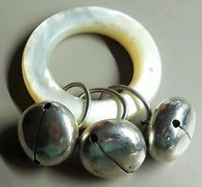 Vintage TIFFANY STERLING SILVER BABY MOP TEETHING RING WITH 3 BELLS NR