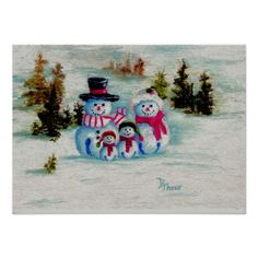 Snowman Family With 2 Kids Posters
