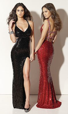 Cut away sides and a daring open back trimmed in beaded accents gives this sexy sequin gown for prom a look that will have heads turning. A seductive long prom dress in black or red with a low cut V-neckline and a slim fitting skirt with a flirtatious side slit and small train from the designers at Mori Lee.