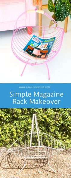 Pink spray paint and leather make this simple magazine rack makeover a show stopper! Use it to corral magazines or for wood for your fireplace. Metal Magazine, Magazine Rack, Do It Yourself Upcycling, Kimberly Mccullough, Pink Spray Paint, Log Holder, Diy Confetti, Leather Pieces, Paint Chips