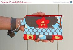 Morning Glory Linen and Polka Dot Slate Wristlet Purse  by RKEMdesigns, $14.36