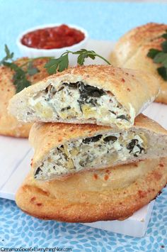 Artichoke Spinach and Chicken Calzones