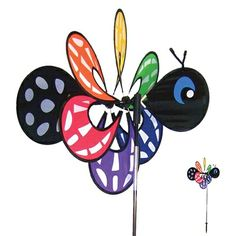 Butterfly Momma Bug Windee Wheelz come with an 18.5inch assembled Windee Wheel, a 35inch 3-section fiberglass pole and 7inch ground stake. Windee Wheelz are made with weather resistant polyester fabric and silk screened graphics. They also feature a pivoting pole to keep them facing the wind. Momma Windee Wheelz are easy to assemble and are sure to please! #windspinner #windspinners #gardendecor #yarddecor