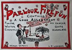 """Fire Magic Set Label  (c.1930's Davenport's, England) : Nicely illustrated original set label from Davenport's demon series. Image this being sold to kids today ... lawsuits would be left and right ! In great problem free condition approx. 3.5"""" x 5"""" in size and rare ! Price $35.00"""