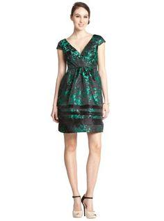 green and black jacquard cap sleeve v-neck dress