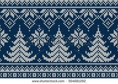 Winter Holiday Seamless Knitting Pattern with a Christmas Trees. Christmas Knitting Sweater Design. Wool Knitted Texture