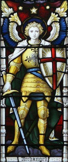 Archangel Michael, West window at St Michael & All Angels, Somerton.