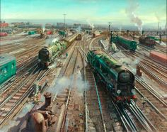 Clapham Junction (British Railways poster artwork) by Terence Cuneo, 1961 Train Posters, Railway Posters, British Railways, Transformers, Holland, Steam Railway, Train Art, Art Uk, Train Travel