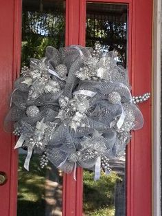 Deco Mesh Silver Christmas Wreath by jayne.weathers
