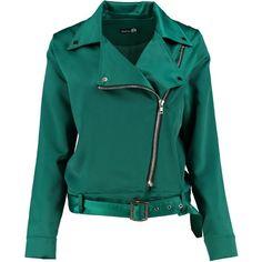 Boohoo Emma Satin Biker Jacket ($32) ❤ liked on Polyvore featuring outerwear, jackets, satin jackets, satin bomber jacket, blue bomber jacket, puffy jacket and puffer jacket