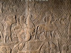 Procession of prisoners from Lachish moves through rocky landscape with vines, fig trees and olives in background (detail), wall panel relief, South West Palace, Kouyunik, Nineveh, Iraq, neo-assyrian, 700BC-692BC