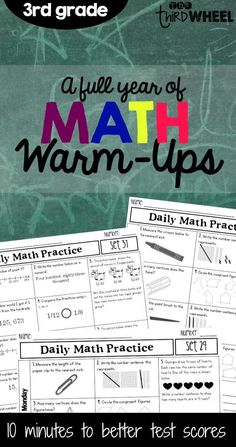 Spiraled math warm-ups for third grade covering all standards including problem solving. Great for morning work- helps to get those important concepts covered and reviewed regularly. ($)