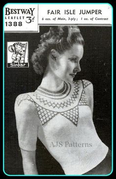 PDF Knitting Pattern for a Ladies Fair Isle Jumper from the 1940s