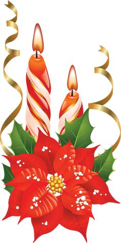 Red and White Christmas Candles with Poinsettia PNG Picture Christmas Clipart, Vintage Christmas Cards, Christmas Printables, Christmas Pictures, Xmas Cards, Christmas Art, White Christmas, Nail Art Noel, Xmas Greetings