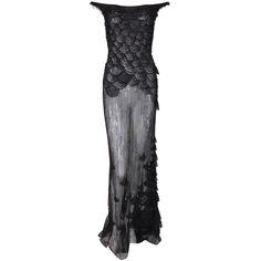c89c47543ab S s 1999 Atelier Versace Runway Sheer Black Mesh Beaded Embellished Gown  Dress