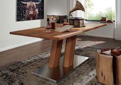 Esstisch der Serie BREMEN mit Natur-Riss-Optik. Wildeichenholz in Kombination mit Edelstahl sorgt für einen modernen Look in Ihrer Küche oder Ihrem Esszimmer. #möbel #möbelstücke#wohnzimmer#holz #echtholz#massivholz#eiche #oak #steel #stahl #wood #wooddesign #woodwork #homeinterior #interiordesign #homedecor #decor #einrichtung #furniture #ideas #esszimmer #diningroom #dining #küche #kitchen #esstisch #diningtable #table #tisch #tischgestell #vollholztisch #massivholztisch #holztisch