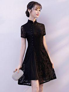 Black Lace A-Line Qipao / Cheongsam Cocktail Dress - CozyLadyWear Source by cozyladywear Dresses Pretty Dresses, Beautiful Dresses, Cocktail Vestidos, Cheongsam Dress, Black Cocktail Dress, Cocktail Dresses, Lace Dress Black, Dress Lace, Ladies Dress Design