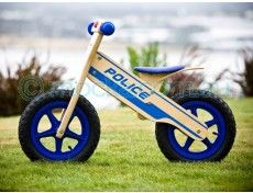 Mocka Police Balance Bike - quality no pedal wooden balance / running bikes are a safe and fun way for kids to build their bike confidence. Baby Bicycle, Wooden Bicycle, Wood Bike, Wooden Ride On Toys, Wooden Toys, Educational Toys For Kids, Kids Toys, Push Bikes, Balance Bike