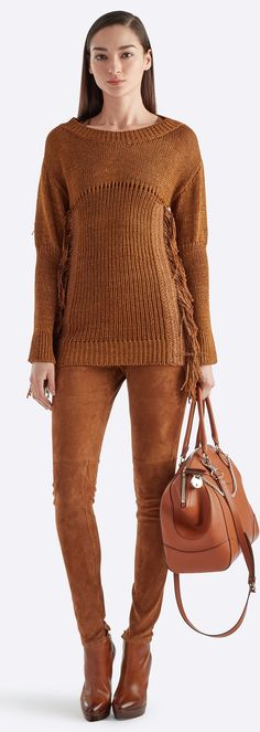Fringed Knit Silk Top