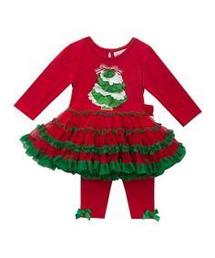 This Red & Green Ruffle Tree Tutu-Dress & Leggings - Infant by Rare Editions is perfect! #zulilyfinds
