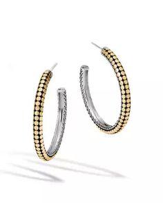 John Hardy Hammered Medium Hoop Earring With Diamonds White diamond eUguDdLZkB