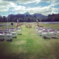 All ready for the Wedding of Rebecca & Anthony. Stunning Mt Warning on the background!